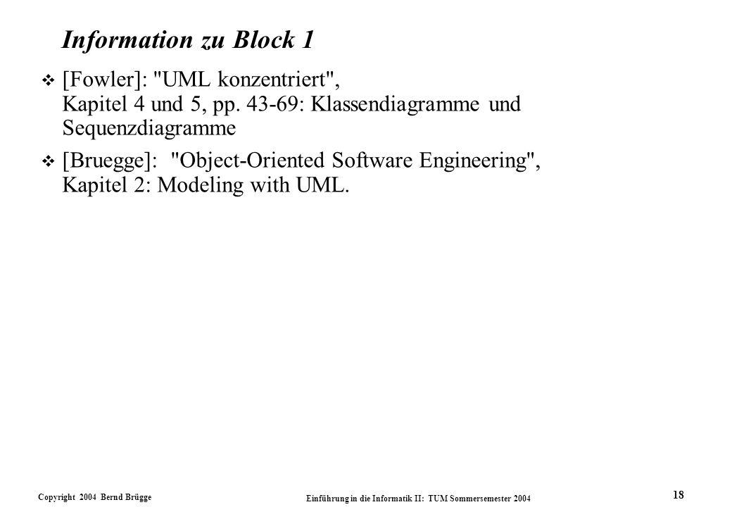 Information zu Block 1 [Fowler]: UML konzentriert , Kapitel 4 und 5, pp. 43-69: Klassendiagramme und Sequenzdiagramme.